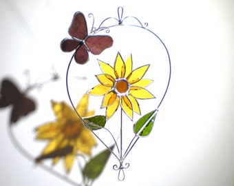 Sunny Delight - 3D Stained Glass Nature Spinner - Sunflower Butterfly Spinning Flower Home Garden Decor Suncatcher (READY TO SHIP)