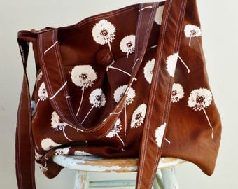 Dandelion Road Trip Bag - 6 Pockets - Hand Printed Organic Linen and Cotton