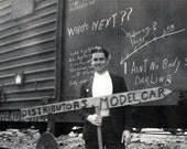 vintage photo 1938 Young Man Graffiti Train Who's Next Signage Unusual Snapshot