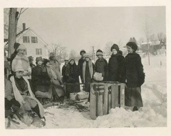 vintage photo 1915 Group Gather in Snowbank Bundled Sled Fire Snow Maple Syrup