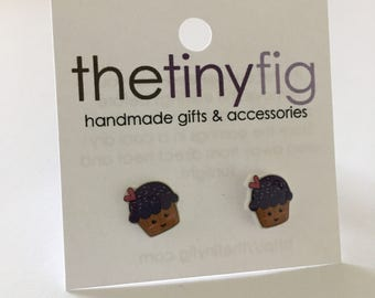 Limited Edition - Purple Cupcake Earrings | Sterling Silver Posts Studs | Gifts For Her