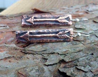 Copper Arrow Earrings, Copper Arrow Bars on Sterling Silver ear wires, Rustic Arrow Jewelry, Bar Earrings, Arrrow Drop Earrings
