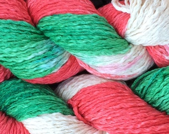 100% Pima cotton yarn - variegated Red & Green Christmas colors - aran weight - in stock, ready to ship!