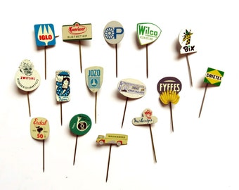 15 Vintage 1960s Tin Advertising Stick Pins - Dutch Food Brands Grocery Store Lot - Bananas Cookies - Metal Lapel Badge