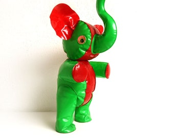 Rare Vintage Inflatable Vinyl Elephant - Blow up Animal - Squeaky Toy Plastic Doll - Made in Japan - Red and Green - With Original Packaging