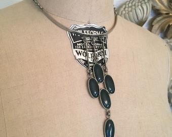 Fall sale Vintage necklace modernist necklace bib necklace silver chocker mod necklace bohemian necklace