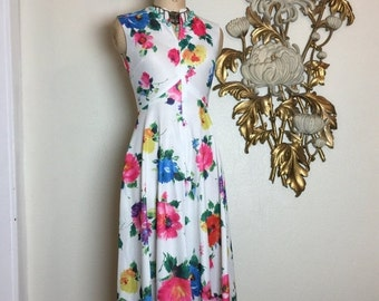 Fall sale 1960s dress maxi dress sleeveless dress floral dress size small vintage dress mod dress retro dress