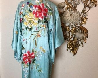 Fall sale 1930s dressing gown vintage robe silk kimono aqua kimono embroidered kimono 30s kimono