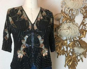 Fall sale 1980s blouse beaded blouse size small black blouse Art Deco blouse silk blouse flapper blouse