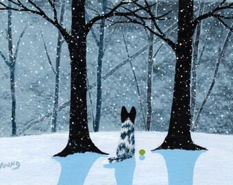 Black White Australian Cattle Dog folk art print by Todd Young FALLING SNOW