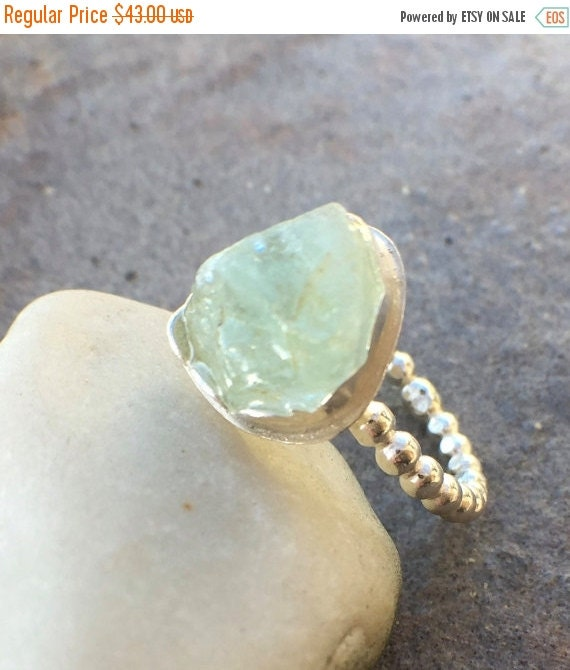 25% Off - Raw Prehnite Sterling Silver US Size 9