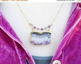 amethyst slice necklace, amethyst slice pendant, quartz necklace, raw stone jewelry, amethyst slice pendant necklace, raw crystal amethyst