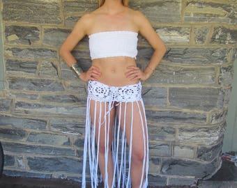 Lotus flower fringe skirt, FESTIVAL FRINGE BELT, crochet fringe belt, boho fringe belt, hip belt, belly dancing, tribal belt, Festival skirt
