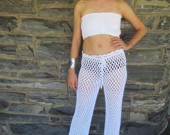Crochet pants, WHITE,crochet women's pants, beachwear pants, boho pants, lace pants, womens lace pants, festival clothing, Hippie pants