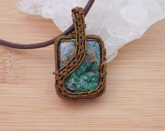 Beautiful Malachite Chrysocolla Druzy Cabochon in Vintage Bronze Parawire Pendant Wire Wrapped Jewelry Handmade Scifi Renassiance Medallion