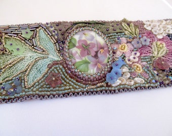 Fiber Art Bracelet Cuff, Fabric and Beadwork Textile Art, Bead Embroidered Bohemian Bracelet, Violets, Bead Applique Sewing Project