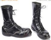 SALE . Vinatge COMMANDO Combat Boots 80s Black Steel Toe DISTRESSED Military Army Boots Platform Chunky Thick Leather Punk  Eur 43  Us 9  Uk