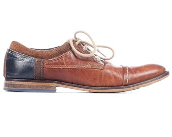 Men OXFORD Shoes 90s Brown Leather Two Tone Rust Brown Blue Hand Crafted Italy Vintage Cap Toe Elegant Mens Gift sz men Us 7, Eur 40, UK 6.5