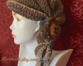 Brown Heather Oak Cloche Crocheted Slouch Hat... knit yarn tied soft scarf cap bohemian boho