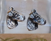 Vintage Dog Head Charms Stampings Airedale