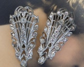 2 Vintage Dress Clip Rhinestones 1930s