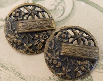 2 Antique Buttons Brass Flowers