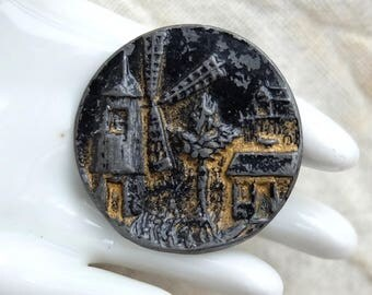Vintage Victorian Picture Button Windmill and House