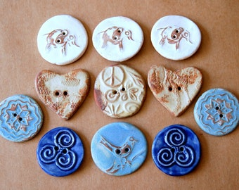 11 Handmade Ceramic Buttons - Sweet Selection of Rustic Designs and Colors -  Sale :) - Stoneware Neutral Elephants - Rust Hearts and more
