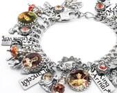 Camelot Charm Bracelet, Silver Charm Bracelet, Reniassance Jewelry, Camelot Jewelry, Renaissance Jewelry