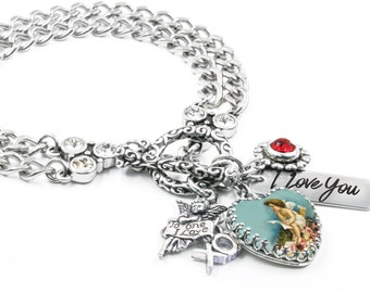Love Bracelet, Heart Bracelet, Girlfriend Gift, Cupid Bracelet, Gift for Her, Valentine Bracelet for Daughter, Valentine Jewelry for Mother
