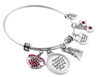 Mother of the Bride Bangle, Crystal Bride Bracelet, The Girl of my Dreams, includes brides name, Bride Birthstone Bracelet