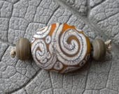Etched Blushing Yellow SCROLL Focal Lampwork Bead by Cherie Sra R114 Flameworked Focal Glass Tab Silvered Ivory Stringer Scroll Bead Etched