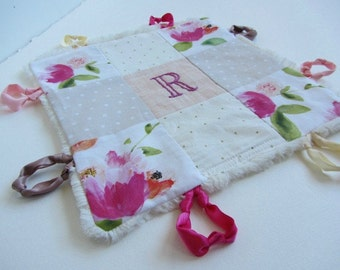 Baby Lovey Girl Blanket with Custom Hand Embroidery Name Or Initial ~Choice of Fabric Backing ~ Flowers Peonies ~ Fuchsia Cream Pink Green