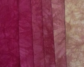 Clear red pink to rose gold Shades - hand dyed Fabric - 6 pc Fat Quarter Gradation Bundle - CRCG51