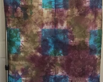 Hand Dyed Fabric - Blue Purple and Tan - 1 yard -  Modern Shibori Cotton - 345