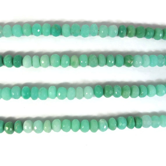 Ten Chrysoprase Rondelles, Shaded Green Gemstone Beads, 8mm - 9mm, Faceted Rondelles, Jewelry Supplies (R-Ch4b)