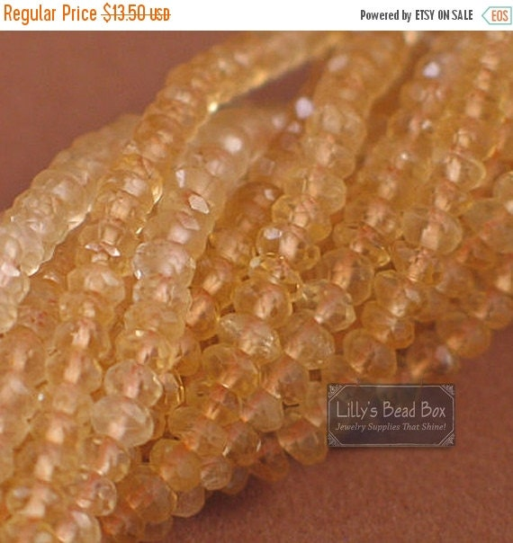 Spring SALE - Citrine Rondelle Beads, Faceted 3.5-4.2mm Beads, 14 Inch Strand of Beautiful Gemstones for Making Jewelry (R-Ci1) SPECIAL Pric