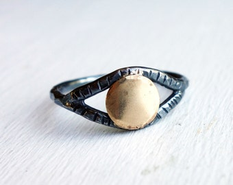 Black and Gold Dot Ring- Handmade Sterling Silver with 14k Gold Fill Dot