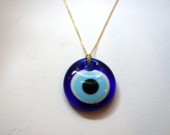 Glass Evil Eye Pendant on 14k Goldfilled Chain