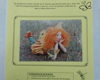 Soft Sculpture Doll Pattern, Nymph Fairy Elf Cloth Doll Pattern, Wattle Nymph Pattern, Ann Clemens