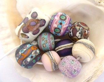 9 Handmade Lampwork Beads