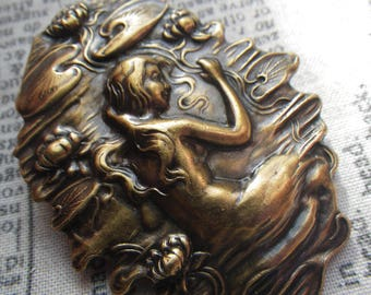 Art Nouveau Lady and Waterlilies Antiqued Bronze Plated Pin 54x40mm 1 Pc