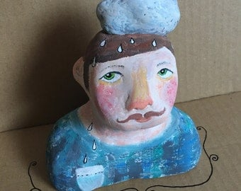 Julio the Cloud Man.  Original Paper Clay Art