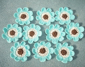 10 crochet applique flowers brown ecru aqua  -- 2554
