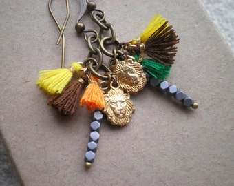 Lion Head Charm + Tiny Tassel Dangle Earrings - Tribal Animal Mismatched Textile Dangles  - Bohemian Lion Mixed Metal Jewelry Gift For Her