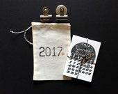SALE Little Calligaphy Calendar, 2017 Hand Lettered Calendar, Small, Black White Letterpress Desk Calendar, Mini Magnetic Fridge Calendar