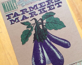 FARMERS MARKET EGGPLANT Hand Printed Letterpress Poster