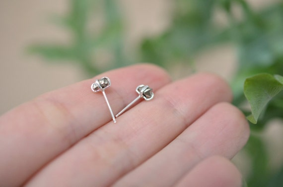 Tiny pyrite stud earrings with sterling silver posts - mix and match pyrites stones - nickel free - gift for her - multiple piercing