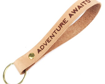 Adventure Awaits All Leather Excursion Keyring