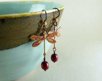 Scarlet Red and Pearl Shabby Chic Dragonfly Earrings with Free USA Shipping